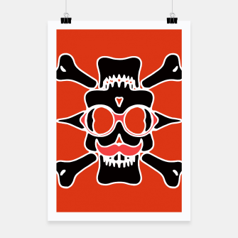 Miniature de image de black skull with glasses and mustache and red background Poster, Live Heroes