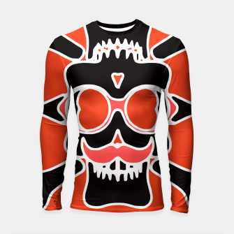 Miniature de image de black skull with glasses and mustache and red background Longsleeve rashguard , Live Heroes