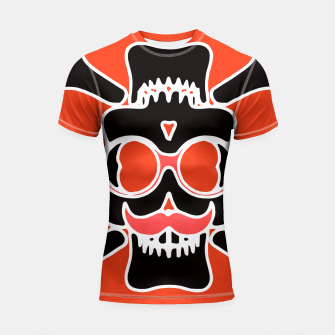 Miniature de image de black skull with glasses and mustache and red background Shortsleeve rashguard, Live Heroes