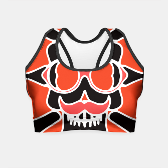 Miniature de image de black skull with glasses and mustache and red background Crop Top, Live Heroes