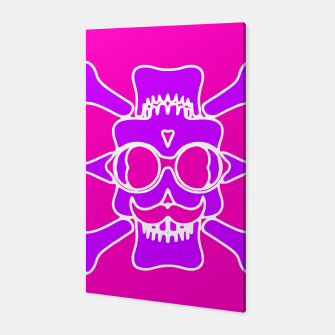 Miniature de image de purple skull with glasses and mustache and pink background Canvas, Live Heroes
