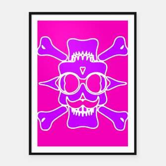 Miniature de image de purple skull with glasses and mustache and pink background Framed poster, Live Heroes