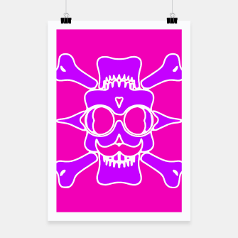 Miniature de image de purple skull with glasses and mustache and pink background Poster, Live Heroes
