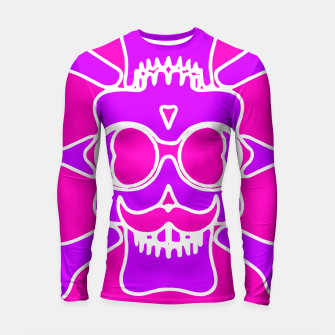 Miniature de image de purple skull with glasses and mustache and pink background Longsleeve rashguard , Live Heroes