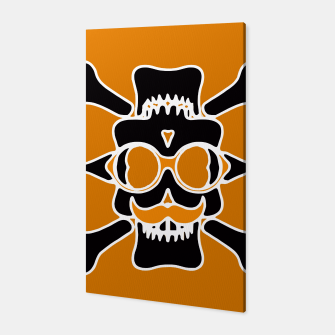 Miniature de image de black skull with glasses and mustache and yellow background Canvas, Live Heroes
