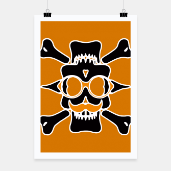 Miniature de image de black skull with glasses and mustache and yellow background Poster, Live Heroes