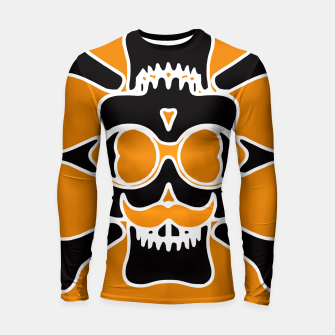 Miniature de image de black skull with glasses and mustache and yellow background Longsleeve rashguard , Live Heroes