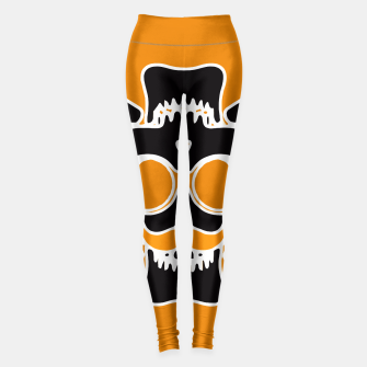 Miniature de image de black skull with glasses and mustache and yellow background Leggings, Live Heroes