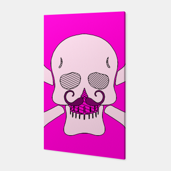 Miniature de image de white skull with mustache and pink background Canvas, Live Heroes