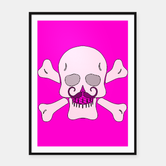 Miniature de image de white skull with mustache and pink background Framed poster, Live Heroes