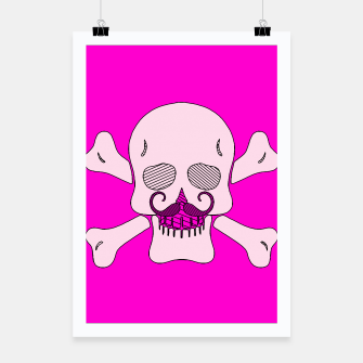 Miniature de image de white skull with mustache and pink background Poster, Live Heroes