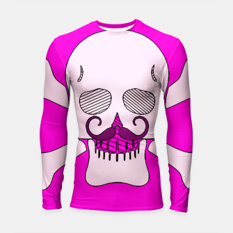Miniature de image de white skull with mustache and pink background Longsleeve rashguard , Live Heroes