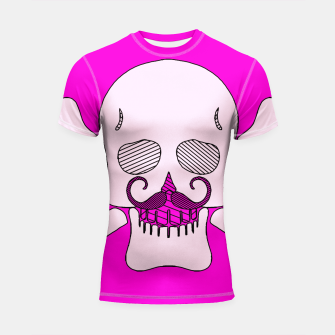 Miniature de image de white skull with mustache and pink background Shortsleeve rashguard, Live Heroes