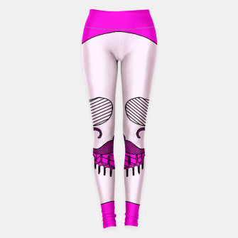 Miniature de image de white skull with mustache and pink background Leggings, Live Heroes