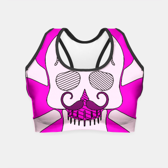 Miniature de image de white skull with mustache and pink background Crop Top, Live Heroes