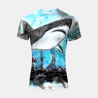 Thumbnail image of Tattooed swimmer Shortsleeve Rashguard, Live Heroes