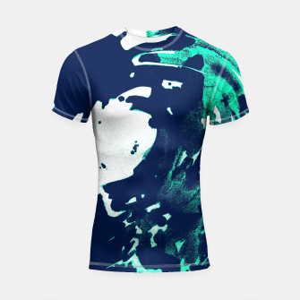 Thumbnail image of Pantone green and Blue Burns on a wave Shortsleeve Rashguard, Live Heroes