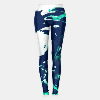 Thumbnail image of Pantone green and Blue Burns on a wave Leggings, Live Heroes