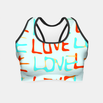 Thumbnail image of LOVE alphabet handwriting drawing in red and blue Crop Top, Live Heroes