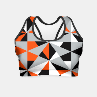 Thumbnail image of Funky Geometric Orange Grey Mixed Print Crop Top, Live Heroes