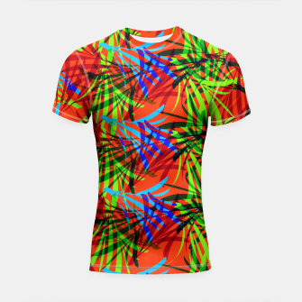 Thumbnail image of Tropical Summer Vibrant Colorful Leafy Print Shortsleeve Rashguard, Live Heroes