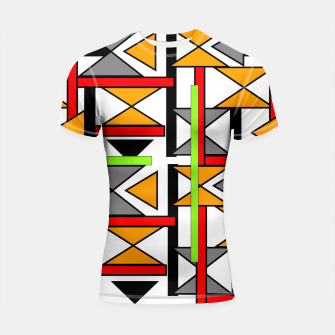 Thumbnail image of Geometric Abstract Funky Colorful Print Shortsleeve Rashguard, Live Heroes