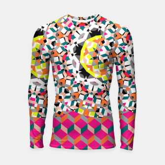 Thumbnail image of Geometric Spliced Pattern Mix Longsleeve Rashguard , Live Heroes