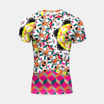 Thumbnail image of Geometric Spliced Pattern Mix Shortsleeve Rashguard, Live Heroes