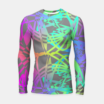 Thumbnail image of Funky Abstract Rainbow Rave Glow Sticks  Longsleeve Rashguard , Live Heroes