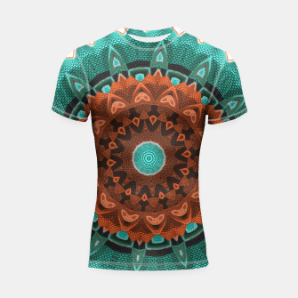 Thumbnail image of Floral Kaleidoscope Teal Orange Brown   Shortsleeve Rashguard, Live Heroes