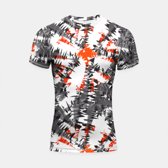 Orange Grey Mix Ikat Abstract Print Shortsleeve Rashguard thumbnail image