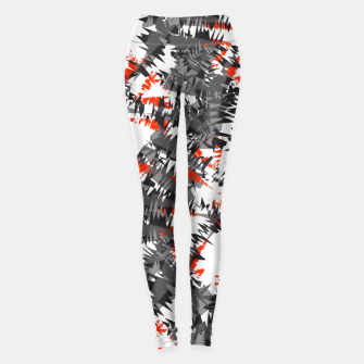 Orange Grey Mix Ikat Abstract Print Leggings thumbnail image