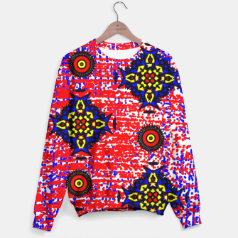 Thumbnail image of Bold Fancy Blue Red Mix Pattern Sweater, Live Heroes