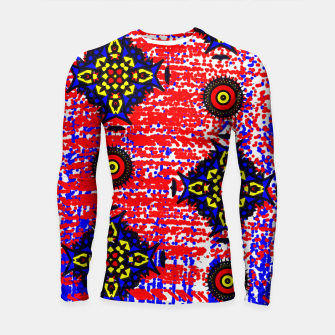 Thumbnail image of Bold Fancy Blue Red Mix Pattern Longsleeve Rashguard , Live Heroes