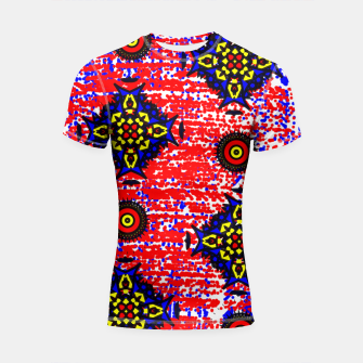 Thumbnail image of Bold Fancy Blue Red Mix Pattern Shortsleeve Rashguard, Live Heroes