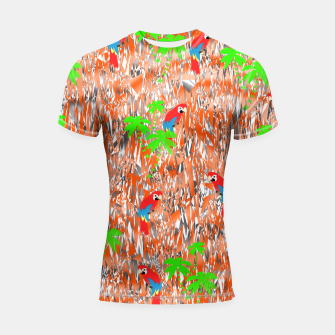 Thumbnail image of Tropical Parrot Jungle Print  Shortsleeve Rashguard, Live Heroes