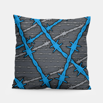Thumbnail image of Barbed ELECTRIC BLUE Pillow, Live Heroes