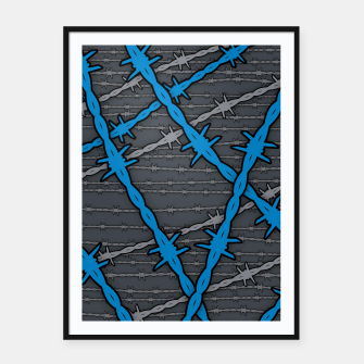 Thumbnail image of Barbed ELECTRIC BLUE Framed poster, Live Heroes