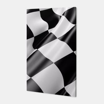 Miniatur Black and White Waving Racing Flag Canvas, Live Heroes