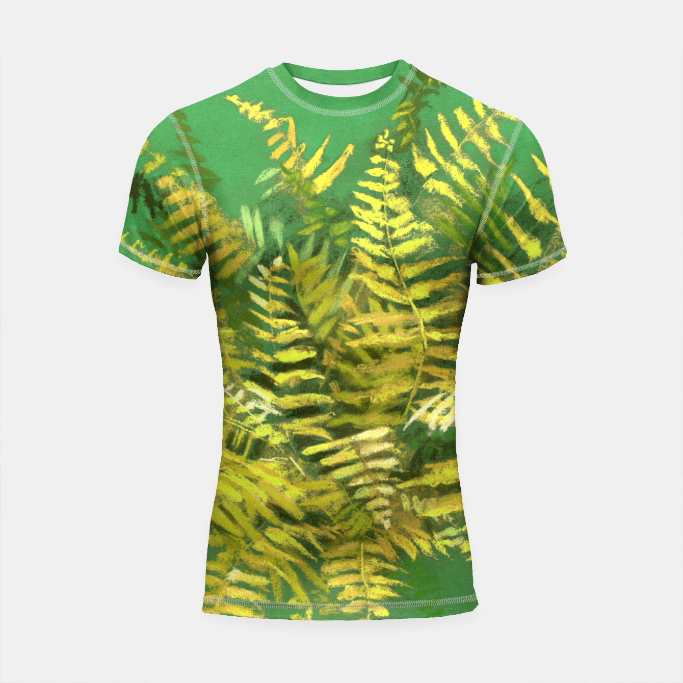 Image of Golden Fern, green & yellow Shortsleeve Rashguard - Live Heroes