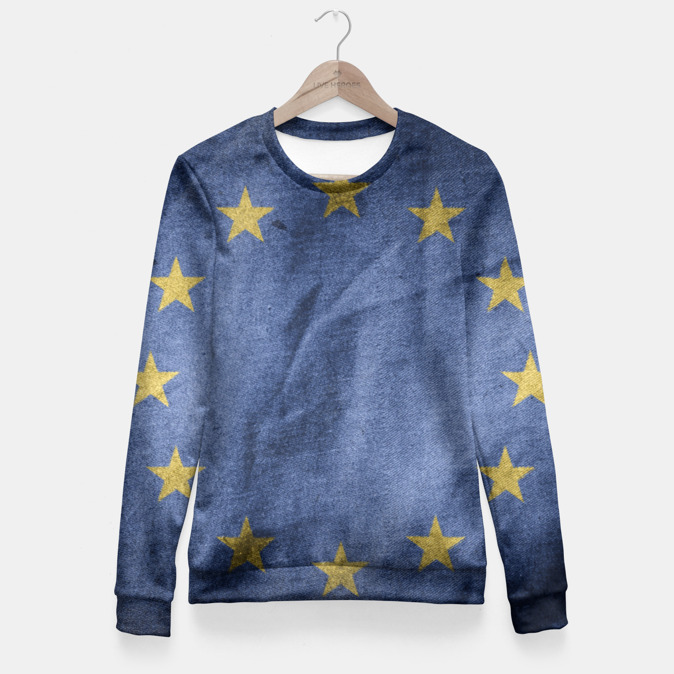 5834d11e63f23 Image of Old Vintage Grunge European Union Flag Fitted Waist Sweater - Live  Heroes