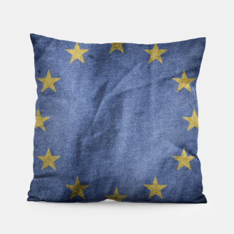 Thumbnail image of Old Vintage Grunge European Union Flag Pillow, Live Heroes