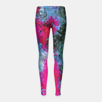 Miniature de image de vintage psychedelic painting texture abstract in pink and blue with noise and grain Girl's Leggings, Live Heroes