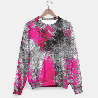 Miniature de image de vintage psychedelic painting texture abstract in pink and black with noise and grain Sweater, Live Heroes