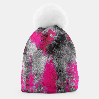 Miniature de image de vintage psychedelic painting texture abstract in pink and black with noise and grain Beanie, Live Heroes
