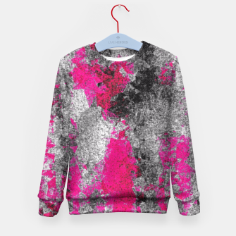 Miniature de image de vintage psychedelic painting texture abstract in pink and black with noise and grain Kid's Sweater, Live Heroes