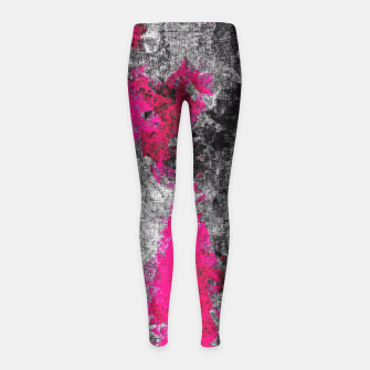 Miniature de image de vintage psychedelic painting texture abstract in pink and black with noise and grain Girl's Leggings, Live Heroes