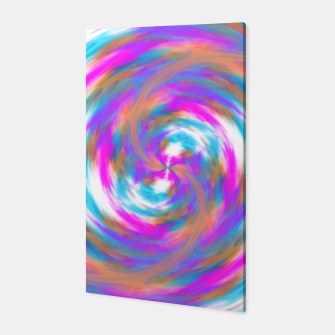 Miniatur psychedelic circle pattern painting abstract in pink orange blue Canvas, Live Heroes