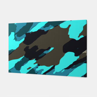 camouflage splash painting abstract in green brown blue Canvas thumbnail image