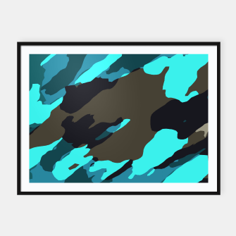 camouflage splash painting abstract in green brown blue Framed poster thumbnail image
